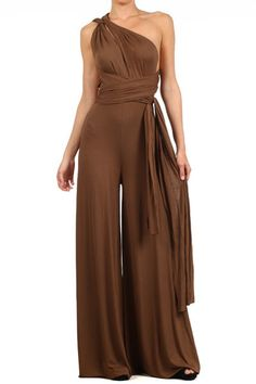 Solid Diamante Wide Leg Infinity Jumpsuit