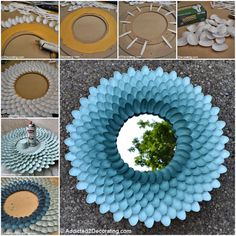 Plastic Spoon Craft Ideas You Will Love Video Tutorial Spoon Chrysanthemum Plastic Spoon Mirror, Plastic Spoon Crafts, Plastic Spoons, Diy Crafts For Home Decor, Diy Crafts To Sell, Easy Crafts, Mirror Crafts, Diy Mirror, Spoon Wreath