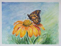 Butterfly Still Life Original Watercolor Painting by PDisanska