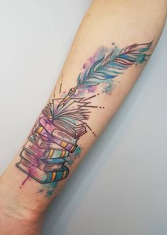 Awe-inspiring Book Tattoos for Literature Lovers watercolor book tattoo ideas © tattoo artist Louise Flynn ❤📖❤📖❤📖❤ Trendy Tattoos, Cute Tattoos, Beautiful Tattoos, Body Art Tattoos, New Tattoos, Sleeve Tattoos, Tattoos For Guys, Unique Forearm Tattoos, Tattoo Forearm