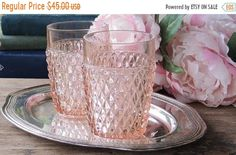 Indiana Glass Pink Diamond Point Tumblers Set of 2 Depression Glass Bar Glasses Barware Cocktail Glasses Tea Party Glassware