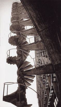 Marcel Breuer - East fire stair at the UNESCO Secretariat, Paris 1953. Own scan from here.