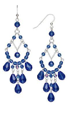 Jewelry Design – Earrings with Celestial Crystal® Medium Blue Beads – Fire Moun… Schmuckdesign – Ohrringe mit Celestial Crystal® Medium Blue Perlen – Fire Mountain Edelsteine und Perlen Jewelry Design Earrings, Bead Jewellery, Bead Earrings, Pearl Jewelry, Wire Jewelry, Jewelry Crafts, Beaded Jewelry, Jewelery, Chandelier Earrings