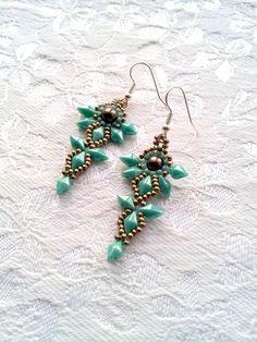 Turquoise beaded dangle tribal earrings, Beaded green brown pearl pewter seed bead drop earrings, Tribal earrings, Boho statement earrings by OdesiaMayJewellery on Etsy