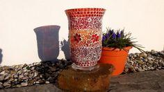 Mosaik Windlicht oder Vase rot-orange von Meine kleine kunterbunte Welt Mosaikdesign, Wohndeko, Kinderbilder auf DaWanda.com