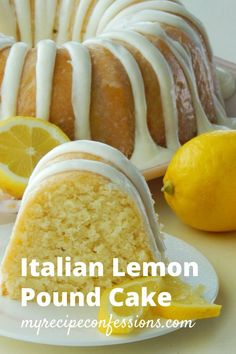 Italian Lemon Pound Cake is the only lemon cake recipe you will ever need!- Italian Lemon Pound Cake is the only lemon cake recipe you will ever need! Lemon Desserts, Delicious Desserts, Yummy Food, Awesome Desserts, Indian Desserts, Food Cakes, Cupcake Cakes, 6 Cake, Italian Lemon Pound Cake