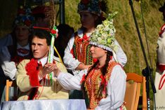 Traditional flower crowns from Poland. Kraków costumes.