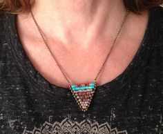 Beaded Chevron Necklace, triangle pendant, turquoise beads, red garnets, tiny rolo chain, brass chain, Native American inspired by MeyerClarkCreative