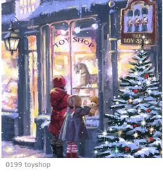 Metaverse Toy Shop 5 by The Macneil Studio Framed Art Christmas Store, Christmas Past, Merry Little Christmas, Vintage Christmas Cards, Winter Christmas, Xmas, Christmas Windows, Illustration Noel, Christmas Illustration
