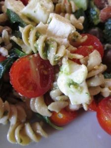 Tomato, Basil, Mozzarella Pasta Salad by A Seat at the Table. Sounds amazing.