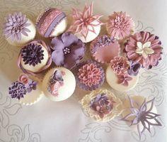 vintage dusky pink and purple cupcakes