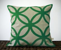 Geometric Kelly Green DECORATIVE PILLOW COVER by JillianReneDecor, $110.00 Jen is this the green?