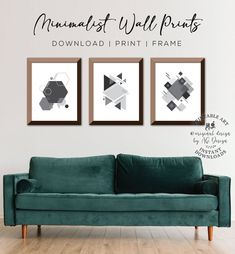 Geometric Wall Art, Set of 3 printables Gallery Wall Set, Scandinavian Modern Decor, Hexagon - Square - Triangles, Home office Neutral Decor Or Mat, Geometric Wall Art, Unique Wall Art, Home Office Decor, Home Decor, Scandinavian Modern, Wall Art Sets, Home Wall Art, Triangles