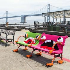 Yarn bombed monster benches at the San Francisco Ferry Building