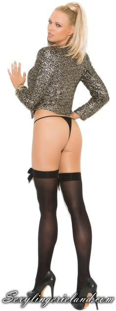 Impress with sexy legs, stylish decorated. Opaque thigh hi with satin bow. Sexy stockings are available in black, white and red color. #lingerie #stockings #xdress #shoponline #trendy #nylons