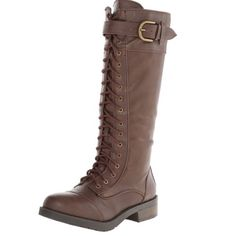 Brown combat boots Brand new never worn missing box . These lace up boot has full insidezipper for easy on/off. The lacing is adjustabell for custom fit. Cool combat style goes knee high. Wear with skirts, leggings, jeans - all your casual attire. White mountain Shoes Combat & Moto Boots
