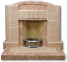 Classic Tiled fireplace with curved pillars 1930s Fireplace, Fireplace Design, Tiled Fireplace, Art Deco Tiles, Fire Surround, Front Rooms, Fireplaces, New Homes, The Originals