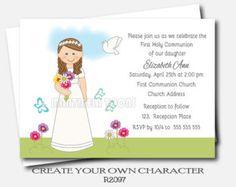 Invitacion Primera Comunión primero flores por ThreeLittleParties