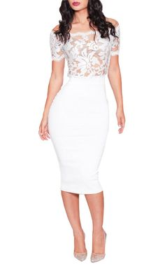 Sexy Womens White Floral Lace Short Sleeve Skintight Cocktail Evening Midi Dress (L, White)