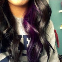 PURPLE!! My favorite color.! Love the dark hair with purple streak!