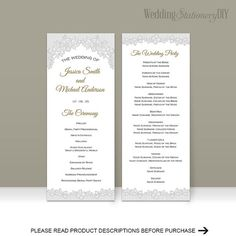 Wedding program diy Wedding program by WeddingstationeryDIY Diy Wedding Program Template, Diy Wedding Programs, Wedding Templates, Wedding Ideas, Microsoft Word 2010, Blush Pink Weddings, Color Change, Lace Wedding, Reception