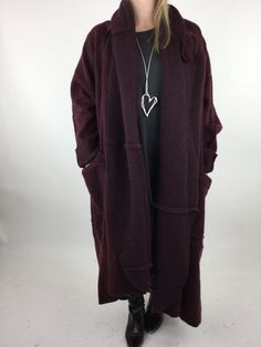 Lagenlook Helena Boiled Wool Oversized Coat in Wine. code 4146