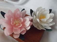 Paper flowers lotus water lily 3pcs white lotus by Mazziflowers, $12.00