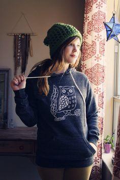 MEDIUM screenprinted OWL sweatshirt hoodie in GREY by skylinefever, $44.00