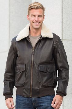 Fashioned during WWII, our US Navy G1 Flight Calfskin Leather Jacket remains standard military issue for its warmth and resilience. Made in the USA.