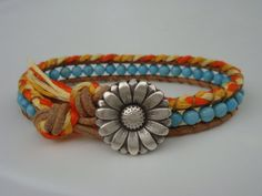 Turquoise Magnesite Beaded Leather Bracelet with by tinacdesigns, $20.00