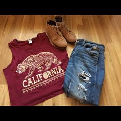 Maroon California cropped tank🐻❤️ Super cute California Maroon cropped muscle tank. Bear on the front features jewels on it✨ Tops Muscle Tees