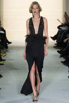 Marchesa Autumn / Winter 2015 AW15 - New York Fashion Week NYFW - Long black dress with opened skirt