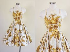 50s Dress - Vintage 1950s Dress - Mustard White Rose Print Sequins Garden Party Dress XS - The Spectacular Now