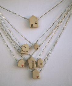 little clay house necklace pendant. $25.00, via Etsy.