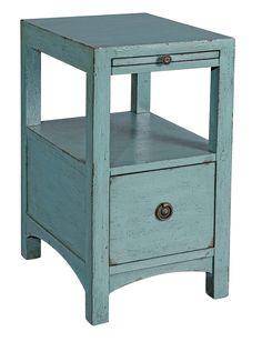 Textured Blue Chair Side Chest