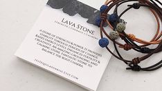 Lava Rock Bracelet SET | 2 bracelets included with purchase! ▼ INCLUDED Lava Rock Bracelet SET (2 individually packed bracelets) → PLEASE READ BELOW for instructions on how to order. Leather and Waxed cord (vegan) available.