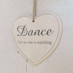 DANCE wooden hanging heart