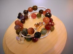 Butterfly Garden Faceted AGATE Beaded Memory Wire by Beads4You2008,