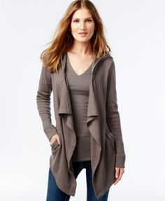 INC International Concepts Drape-Front Hooded Cardigan, Only at Macy's