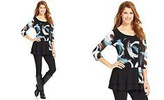 Style&co. Printed Ruffled Print Tunic