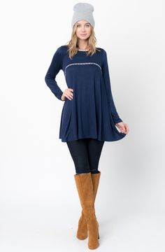Navy blue Lace Trim Tunic  http://www.caralase.com/lace-trim-tunic/  Long sleeve jersey top with a lace trim by Caralase. Cut in a relaxed + swingy silhouette, finished with a plenty long hem and lace trimming.  #Lacetrimtunic #trimtunic #lacetunic #tunics #tunicsforwomen #longsleevejerseytop #jerseytop #tops #longsleeve #burgundy #black #charcoal #olive #navyblue #navy #cool #caralase #fashion #newarrivals #cute #best #latest #womens #ladies #girls #ootd #trendy #lifestyle #cheap