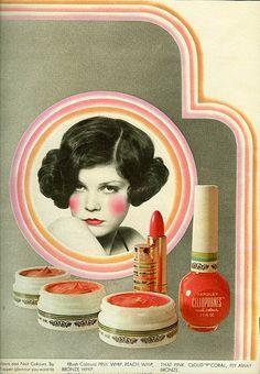 Vintage Makeup Ad for Yardley Cosmetics referencing - Vintage Makeup Ads, Vintage Nails, Retro Makeup, Vintage Beauty, Vintage Glamour, Style Vintage, Retro Vintage, Vintage Fashion, Vintage Trends