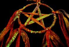 Beltane Fire Pentacle Amulet . Pagan Wiccan Altar / Car/ Pendant Decoration