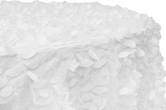 """Leaf Petal Taffeta Round 120"""" Tablecloth - White Wholesale Tablecloths, Sweetheart Table Decor, High Top Tables, Table Overlays, Wedding Decorations, Table Decorations, Table Height, Round Tablecloth, Table Linens"""