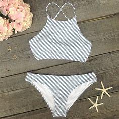 Cupshe Stripe Season Tank Bikini Set- want want want Beach Fashion, Cute Bikini, Sexy Bikini