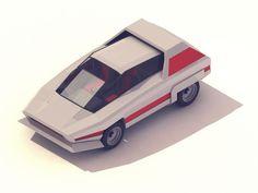 Isometric low poly Alfa Romeo Navajo Bertone by Michiel van den Berg Low Poly Car, 70s Cars, Cinema 4d Tutorial, Isometric Art, Low Poly 3d Models, Modelos 3d, Futuristic Cars, Car Drawings, Illustrations