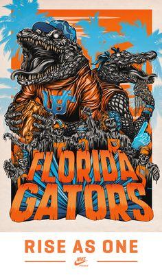 University of Florida Gators - Nike poster - Rise as One Fla Gators, Florida Gators Football, Sec Football, College Football, Football Season, Florida Athletics, Uf Gator, College Sport, Football Food