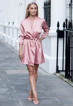 Dusky Pink Satin Wrap Dress