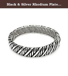 Black & Silver Rhodium Plated Brass Rope Design Bracelet. • Cubic zirconia stones rhodium plated brass bangle bracelet width: 13.4mm Metal : .925 Sterling Silver Finish : Rhodium Brass Plated Product Type : Bracelet.