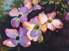 Pink Dogwoods art watercolor painting print by Cathy Hillegas, 7.6x10, floral, flowers, pink, blue, purple, yellow, green